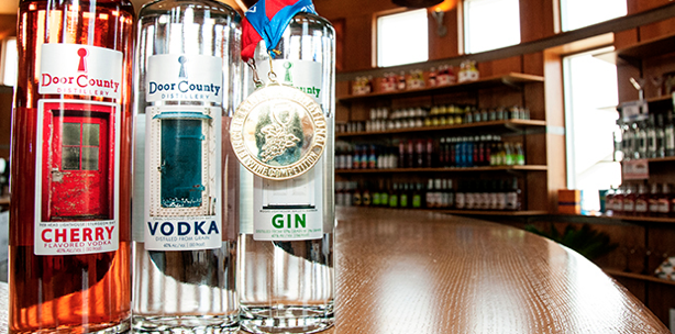 Door County Distillery's award-winning Gin, Vodka and Cherry-infused Vodka